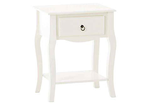 CLP Comodino Bianco Julie Shabby Chic in Legno Laccato I Tavolino Sa Appoggio con Cassetto E Ripiano Design Provenzale, Colore:Bianco