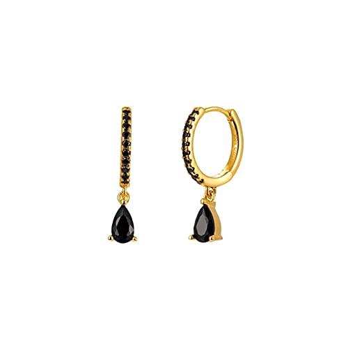 PJRYC Tremella Hebilla Pendientes Arco Iris para Mujer Cristal Negro Cristal Zircon Gota de Agua Colgante Hipoalergénico Pendientes (Gem Color : Gold Black)