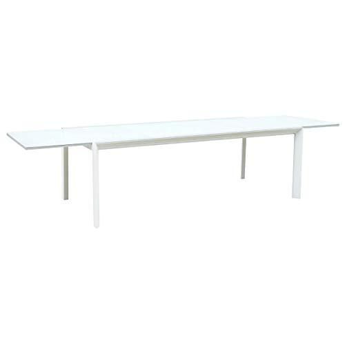 Oseasons Pesaro Aluminium 6-8 Seater Uitschuifbare Rechthoek Eettafel in Wit met Mat Wit Glas Top