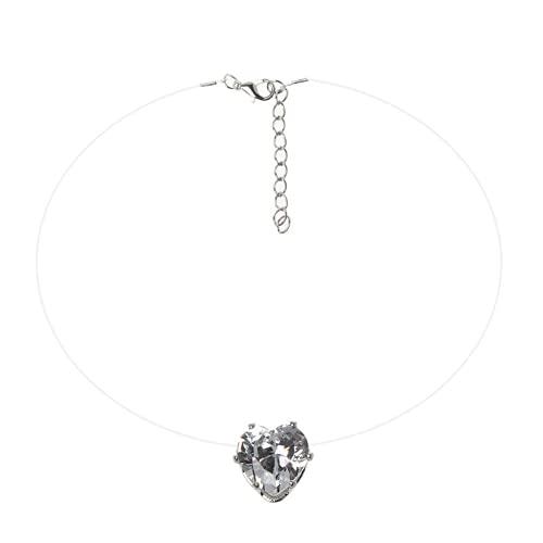 XIGAWAY Collar con colgante de piedra de circonita cúbica invisible con forma de corazón transparente