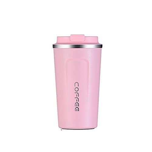 VBHTTaza De Café Aislada Simple Para Hombres Y Mujeres Con Tapa Taza De Acompañamiento Portátil Taza Práctica De Acero Inoxidable Rosa 510ml