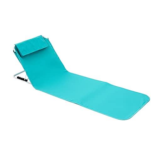 Tapis de plage pliable avec dossier réglable et coussin - 160 x 54 cm - Charge maximale : 150 kg - Pour jardin, balcon, gris foncé (bleu)