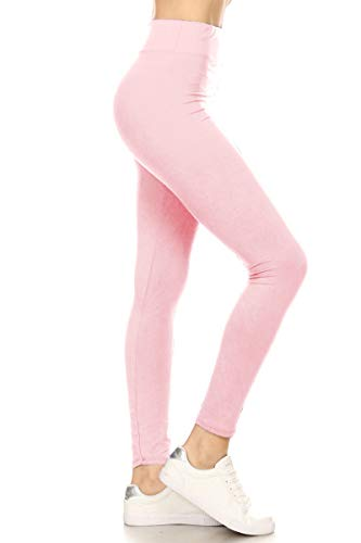 LYR128-PINK2 Yoga Solid Leggings, One Size