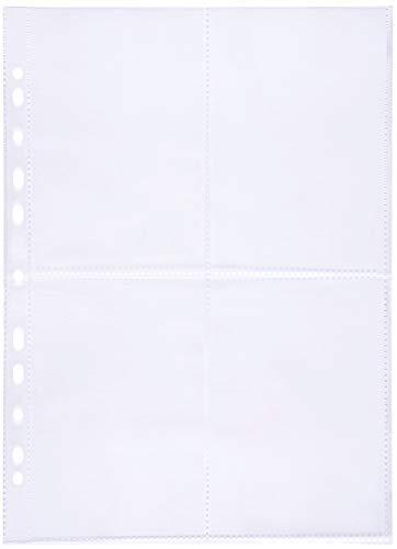perfect line 100 Sammel-Hüllen 4-geteilt, glas-klar, Prospekt-Huelle DIN-A4 transparent, Sicht-Tasche auf 4 Fächer (4 x A6), Klarsicht-Folie farblos, Einschub oben, für Post-Karten, Fotos, Dokumente