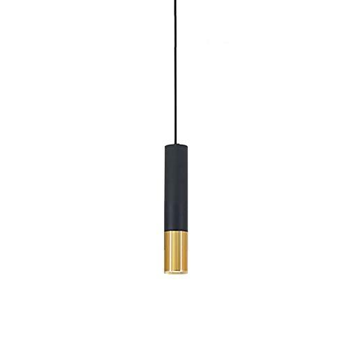 Naiyn Lámpara Colgante de luz de Techo de Tubo Largo LED Lámpara Colgante Simplicidad Negra Barra de Barra de Altura Ajustable Foco cilíndrico para Cocina Restaurante en Isla