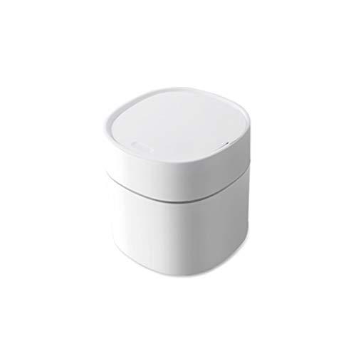 jinyi2016SHOP Cubo de Basura Prensa de Tipo Escritorio Bote de Basura con Tapa elástica, compacta los desechos domésticos Cesta de Papel Bote de Basura Blanca 2L Papeleras