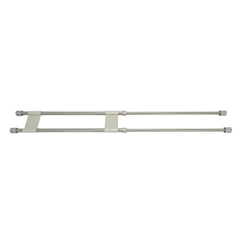 """Camco 28"""" Double RV Refrigerator Bar, Holds Food and Drinks in Place During Travel, Prevents Messy Spills, Spring Loaded and Extends Between 16"""" and 28"""" - Gray ( 44075)"""