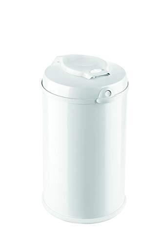 Fillikid Windeleimer Exclusiv | Windeltonne geruchlos | fasst ca. 40 Windel | gross und komfortabel 30 L | Metall weiß mit Abdichtung | für normale Müllbeutel | keine teuren Nachfüllkassetten
