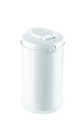 Fillikid Windeleimer Exklusiv | Windeltonne geruchlos | fasst ca. 40 Windel | gross und komfortabel 30 L | Metall weiß mit Abdichtung | für normale Müllbeutel | keine teuren Nachfüllkassetten