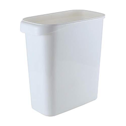 LYLY Papelera de cocina sin tapa, rectangular con anillo de prensa, para espacio estrecho, baño, hogar, cocina, (color: blanco)