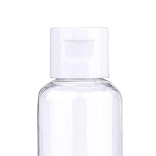 Envase cosmético 30 unids de plástico transparente Botella vacía Loción de viaje recargable Shampoo Botellas de líquido Muestra tapa de flip tapa 10/30 / 50/60 / 100ml Adecuado para uso familiar o par