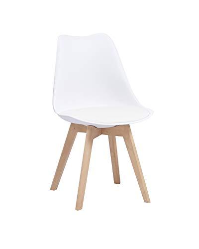 SAM Schalenstuhl Luisa, weiß, Esszimmerstuhl mit Kunststoff-Sitzschale, integriertes Kunstleder-Sitzkissen, Massivholz-Gestell aus Buche