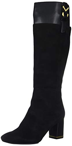 Calvin Klein Women's Candace Knee High Boot, Black Suede/Leather, 5.5 M US