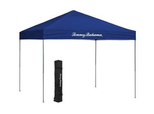 Tommy Bahama OnePush 10 x 10 Pop Up Canopy Tent for Beach or Sports with Roller Bag and 4 Tent Spikes