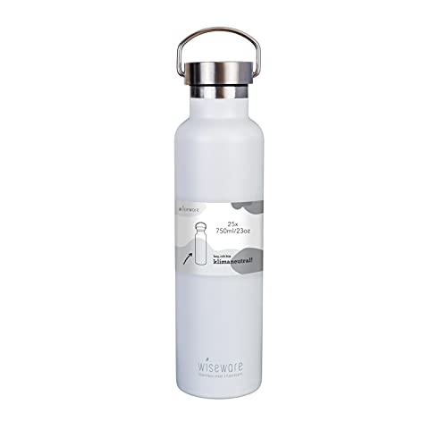 Wiseware Botella de acero inoxidable – 25 unidades de termo blanco 750 ml – libre de BPA – Botella de agua de metal a prueba de fugas para exterior, senderismo, escuela, deporte