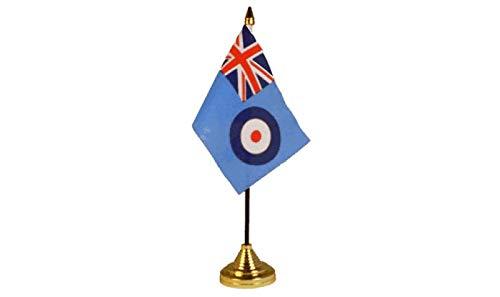 Flagmania® RAF F-Fahne, 15,2 x 10,2 cm, Tischflagge mit goldfarbenem Kunststoffkegel und 59 mm Button