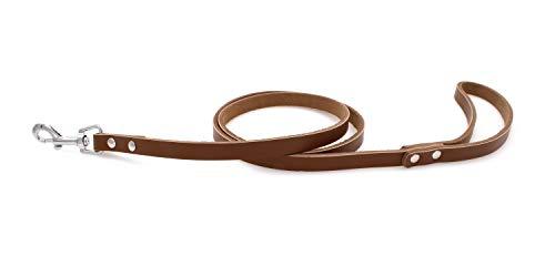 Echtleder Hundeleine für kleine, große, mittelgroße Hunden, Welpen und Katzen (Braun)
