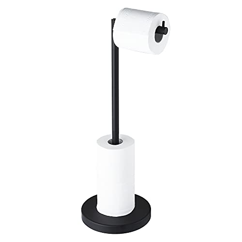 MARMOLUX ACC Free Standing Toilet Paper Holder Stand with Storage for 4 Rolls of Toilet Tissue for Bathroom, Stainless Steel Modern Matte Black Finished