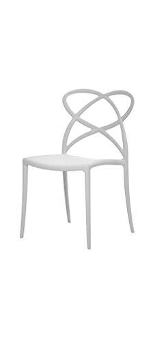 Fashion Commerce 02-FC907 Set di Sedie, Bianco, 46 x 49 x 81 cm, 2 sedie