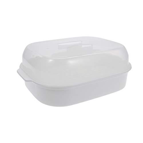 Cabilock - Forno a microonde per cottura a vapore, verdure, pesce, condimento, vapore, per pane e cottura a vapore, colore: Bianco