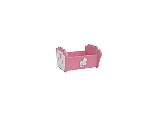 Biribao - Cuna de poliestireno, para nacimiento, niña, rosa, adorno decorativo para caramelos o buffet L 32,5 cm - H 20,5 cm - S 30 cm