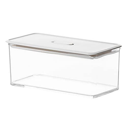 WHAIYAO Transparente Caja Contenedor De Nevera Aspiradora Caja De Conservación Fresca Cocina Organizar Caja, 4 Tamaños(Size:10x20x8.2cm-1000ml)