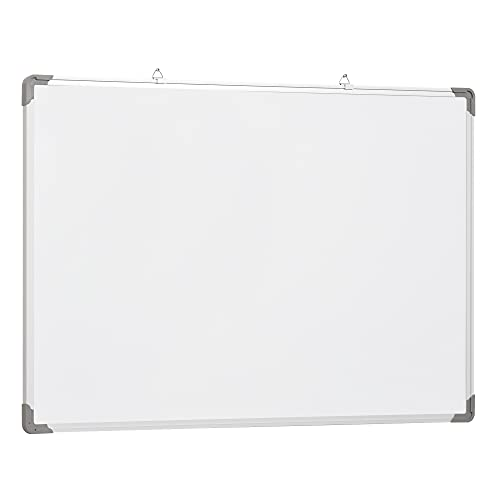 HOMCOM lavagna magnetica da parete con cornice in alluminio, con pennarelli, cancellino e magneti 90x60cm