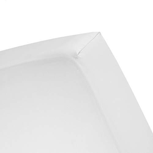Hoeslaken Romanette wit (velours)-90 x 200/210/220 cm
