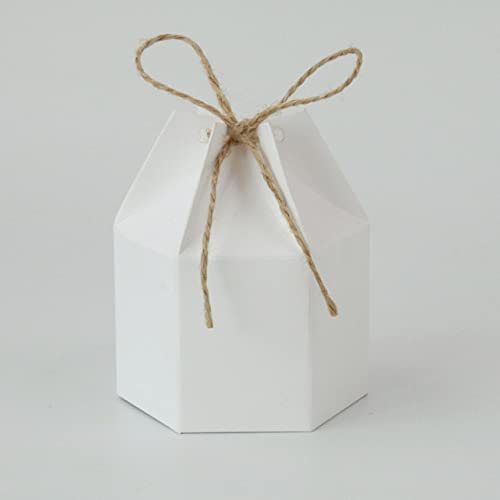 XININ Lot de 50 boîtes à dragées hexagonales en papier kraft blanc pour mariage, fête prénatale, baptême