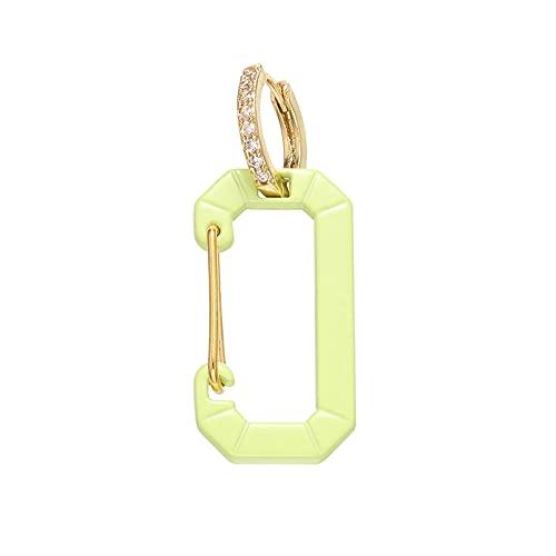 xingguang Pendientes de aro pequeños de 1 pieza, de color rectangular, esmaltados, para mujer, joyería de moda (color metal: dorado y verde)