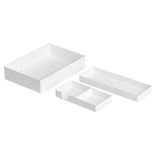Amazon Basics Kunststoff-Organizer-Set, Zubehörablage, Halb-Zubehörablage und Kleine Ablage, Weiß