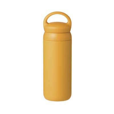 Kinto Reisebecher 500 ml, Wasserflasche, vakuumisolierte Thermosflasche, Sportflasche senffarben