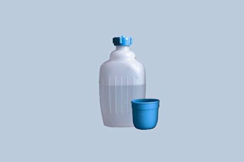 hünersdorff Botella de almacenamiento de plástico HD-PE, 500 ml, color natural, con vaso azul