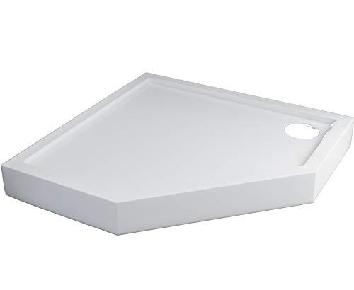 Stabilsound - Plato de ducha (90 x 90 cm, 5 esquinas, acrílico, incluye soporte, 12 cm de alto), color blanco