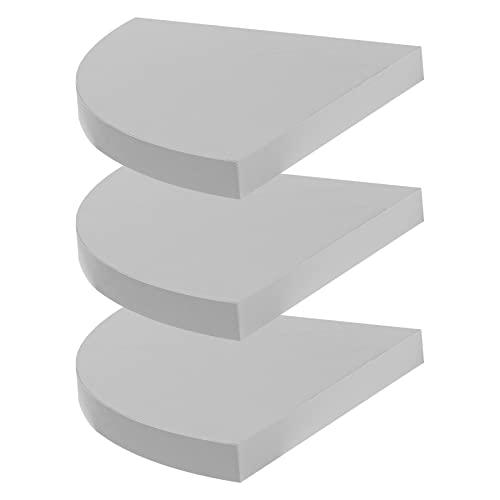 Harbour Housewares Pack Of 3 Floating Wooden Wall Corner Shelf 29.5cm x 29.5cm - White