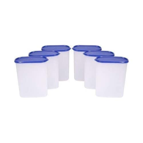 Tallboy Space Saver Plastic Container Set, 2.4 Liters, Set of 6, White and Blue