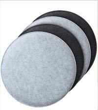 Queta 4er Set Sitzkissen Schwarz/grau gemütliches Sitzkissen rund aus Filz Ø 34cm Waschbare Stuhlkissen für Schalenstuhl - Komfortable Sitzauflage für Bank, Stuhl