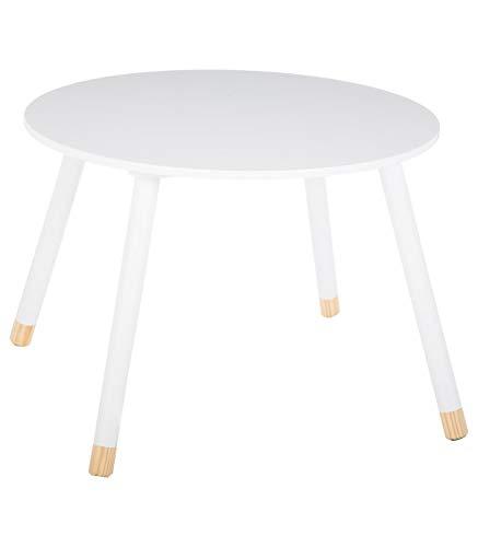 ATMOSPHERA Runder Tisch aus Holz für Kinder – Farbe WEIß