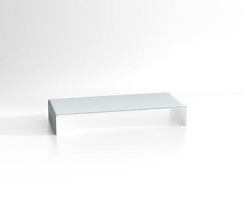 DURATABLE® Laptoptisch aus Glas in Superweiß 700 mm x 130 mm x 300 mm LCD Fernseher-Aufsatz Glastisch Monitor Tisch TV Erhöhung
