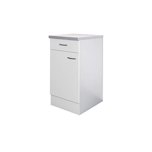 Flex-Well Küchenschrank UNNA | Unterschrank | 1-türig, 1 Schublade | Breite 40 cm | Weiß