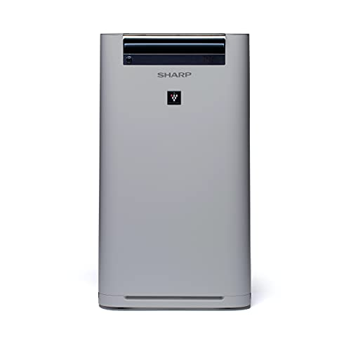 SHARP UA-HG60E-L Luftreiniger mit Luftbefeuchter für Räume bis zu 50 qm, 3-Stufen Filtersystem (Vorfilter, Geruchsfilter, HEPA-Filter), grau