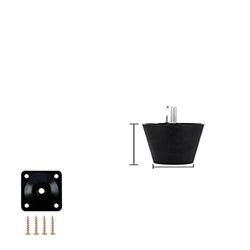 1/4 patas redondas de plástico negro para muebles, reemplazos, mesa de sofá, cama, patas de carbinet con placas de hierro, tornillos - 4 piezas de 40 mm