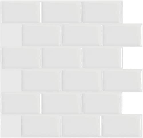 Ecobeautymo 3D Fliesenaufkleber Küche, PVC Fliesen Selbstklebende Fliesensticker Bad Fliesendekor, Klebefolie Fliesen Weiß Wasserdicht Wandaufkleber 30.5x30.5cm(4 Blatt)