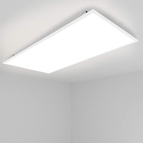 [Pro High Lumen]OUBO LED Panel 120x60cm Deckenleuchte 72W 10000 Lumen Neutralweiß 4000K Weißrahmen, Einbauleuchten Set 230V, Wandleuchte, inkl. Trafo und Anbauwinkel