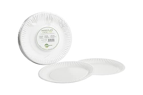 100 platos de papel de 18 cm de diámetro, biodegradables, compostables, desechables, vajilla de cartón