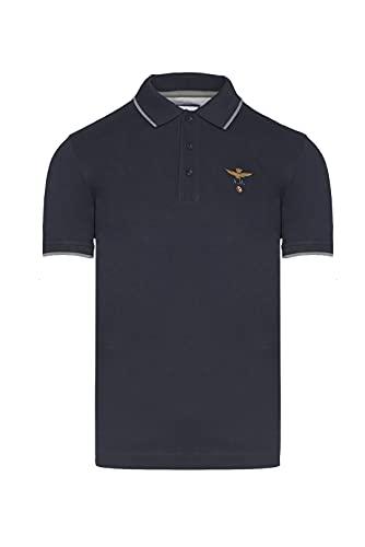 Aeronautica Militare - Polo de manga corta de algodón piqué, bordado en el pecho con águila turrita, ajuste regular., Azul y negro., XL