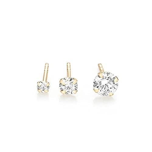 WWWL Aretes, 925 Sterling Silver Stud Pendientes 2 mm 3mm 4mm Minimalista Cuatro Garra Diamante Pendientes Pendientes Fine JOYERÍA Regalo (Color : Gold)