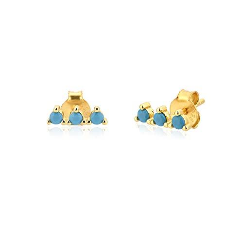 Pendientes pequeños de plata de oro 925 Pendientes de cristal de circonio Pendientes de perforación Joyería fina Rock Punk Pendientes de lujo-Turquesa