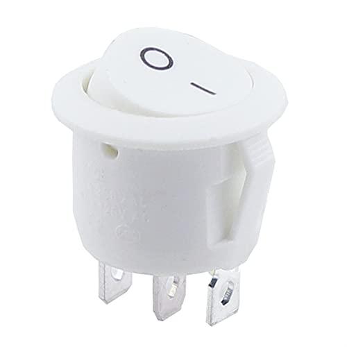 JSJJATQ Interruptores 1 unids 2 / 3pin Negro ON/Off 6A / 250V Rower Rower Rower Cambiar Interruptor de pulsador de plástico Blanco Rojo (Color : White 3pin, Size : 5PCS)