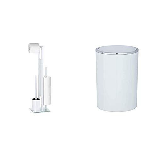 WENKO 21565100 Stand WC-Garnitur Rivalta/Bürstenhalter, Stahl/Glas, 18 x 70 x 20 cm, weiß & Schwingdeckeleimer Inca White, Mülleimer, Fassungsvermögen: 5 l, 18.5 x 25.5 x 18.5 cm, weiß